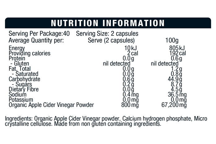 BSC Apple Cider Vinegar Capsules Nutrition Info