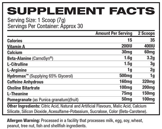 MuscleTech Anarchy Nutritional Information