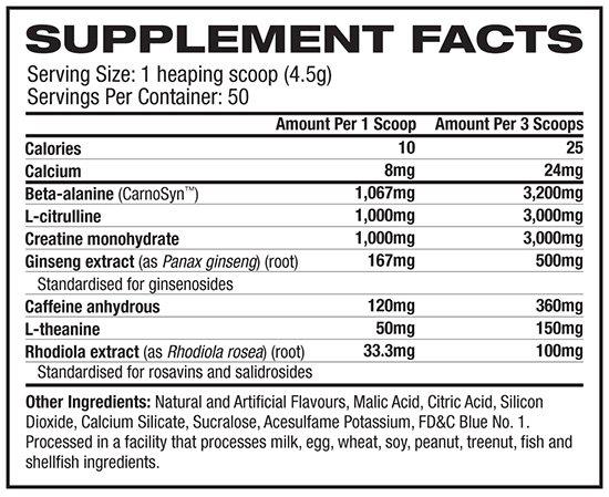 Muscletech Neurocore Nutrition Information
