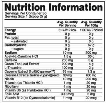 Burn Complex Caffeinated Nutrition Facts