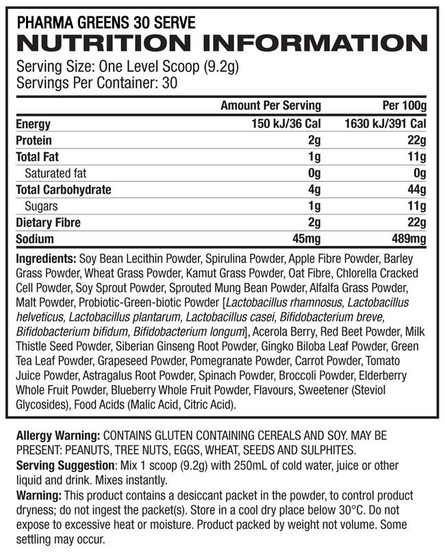 NutritionFacts - PHD Pharma Greens 30 Serve