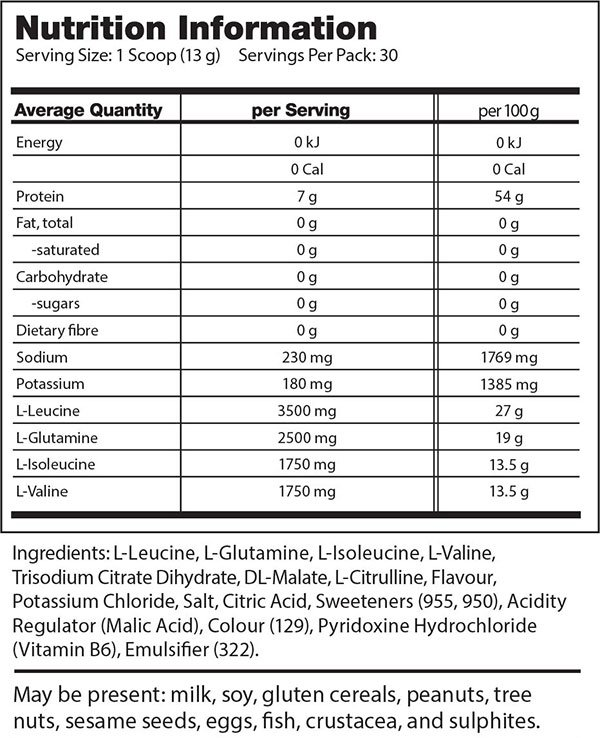 Scivation Xtend Nutrition Facts