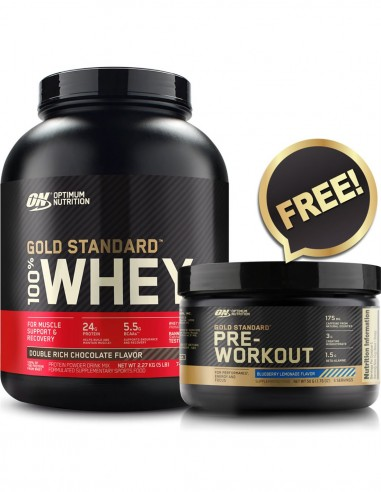 Gold Standard 100% Whey 5lb + Free Amino Energy Trial by Optimum Nutrition