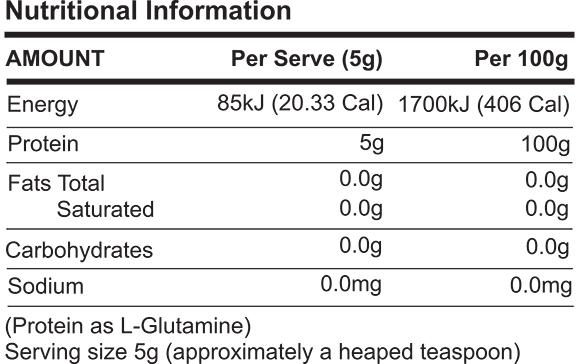 ATP L-Glutamine Nutrition Facts