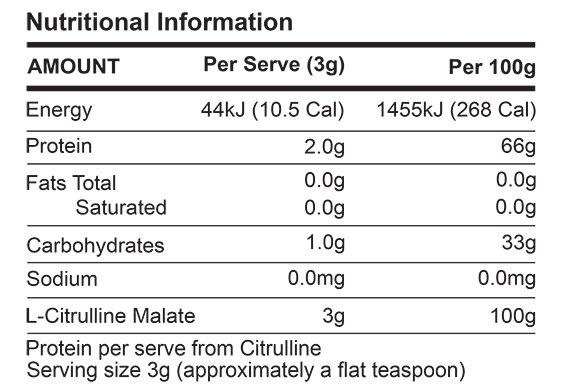 ATP L-Citrulline Nutrition Facts