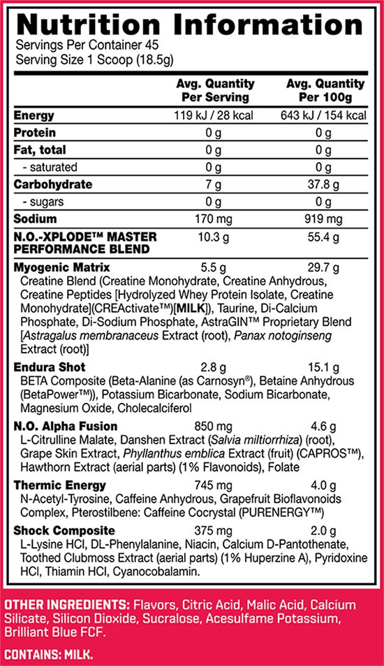 No Xplode Nutrition facts
