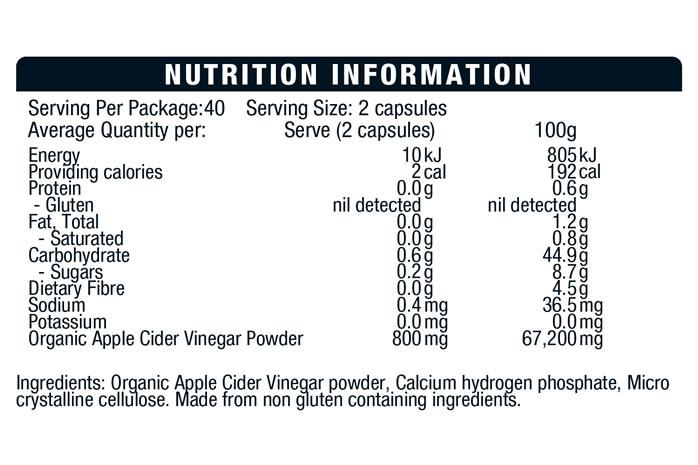BSC Apple Cider Vinegar Capsules Nutrition Info