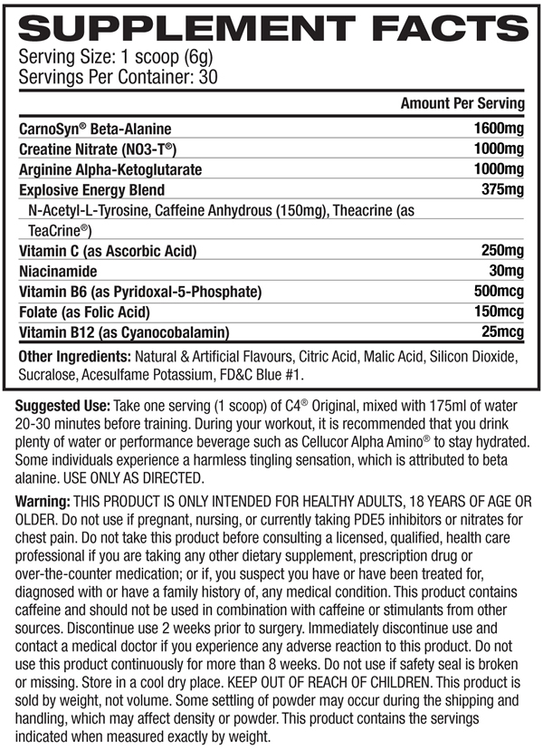 C4 Id Series Nutrition Facts