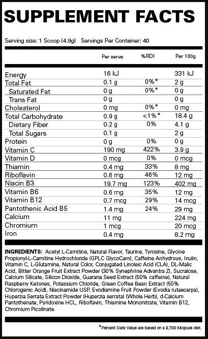 Oxyshred Nutrition facts