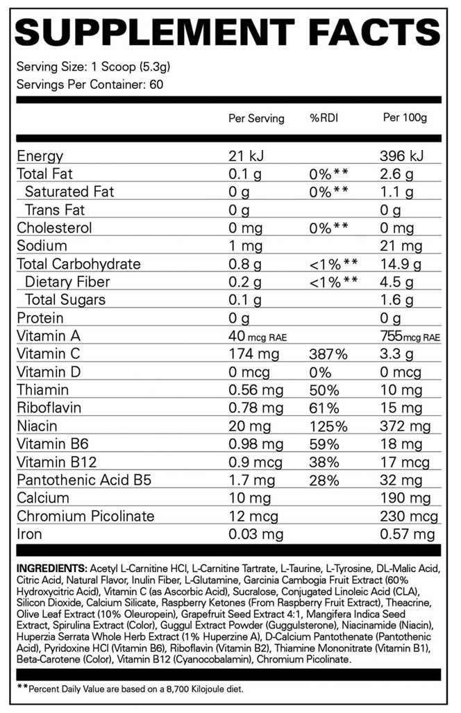 Oxyshred Non Stim Nutrition Facts