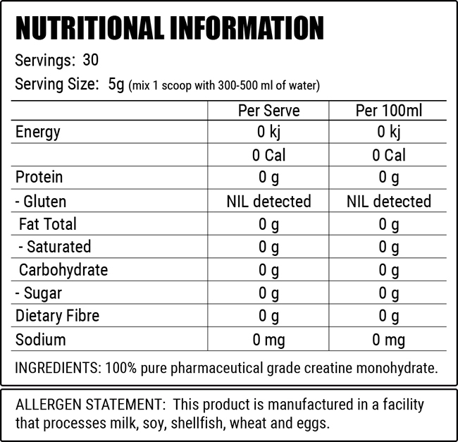 Faction lab Creatine nutrition facts