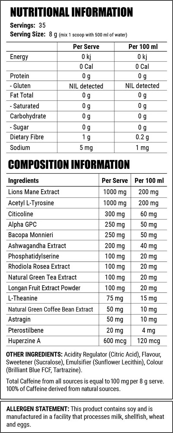 Faction labs attention Nutrition Facts
