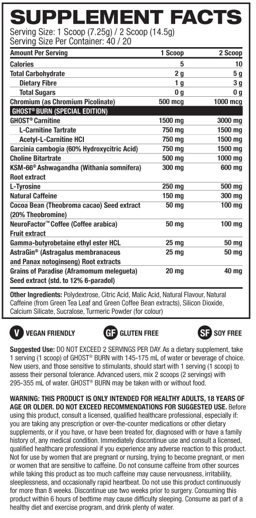 Ghost Burn Black Nutrition Facts