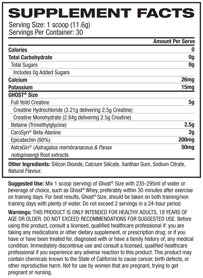 Ghost Size Nutrition Facts