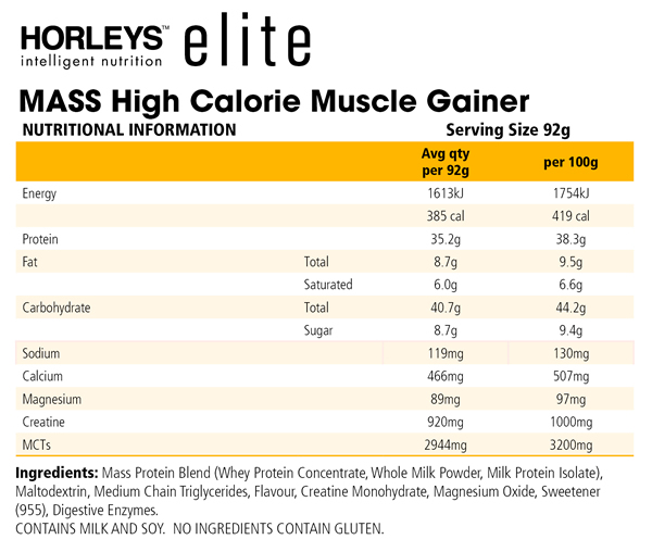 Horleys Mass Nutrition Information