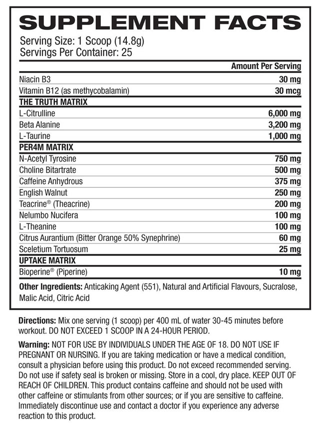 Inspired DVST8 BBD Nutrition Facts