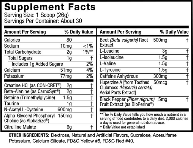 JYM Pre Nutrition facts