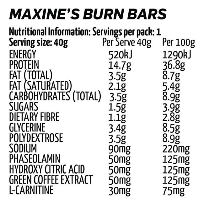 Maxine Burn Nutrition information