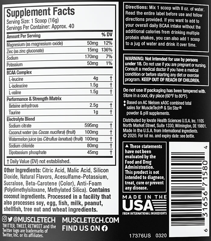 Muscletech Amino Build nutrition Facts