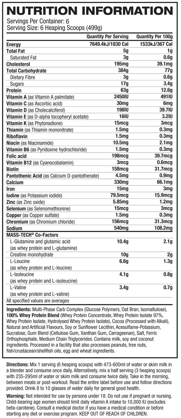 Masstech Nutrition Facts