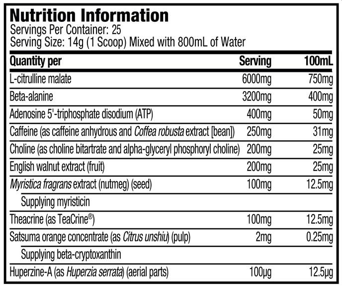 Vapor Max Nutrition Facts