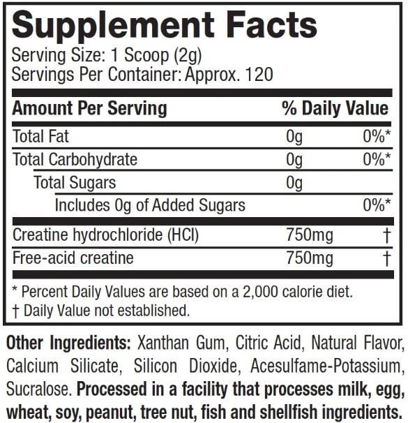 Muscletech celltech creatine nutrition Facts