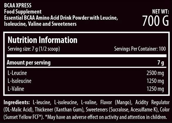 Bcaa Xpress Nutrition Facts
