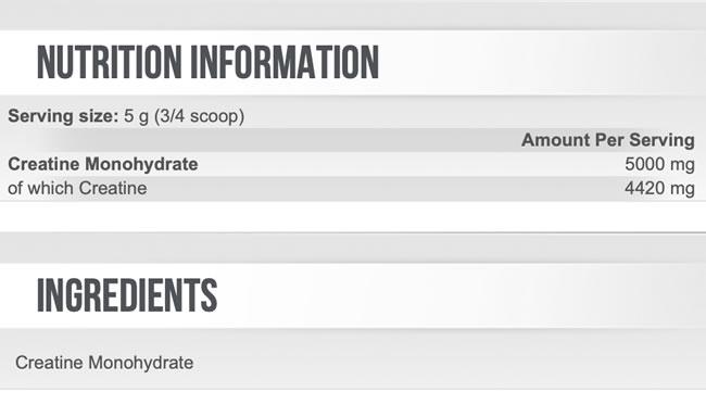 Scitec Creatine Nutrition Facts