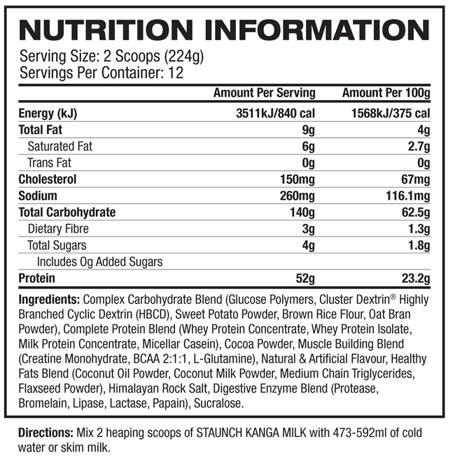 Kanga Milk Nutrition facts