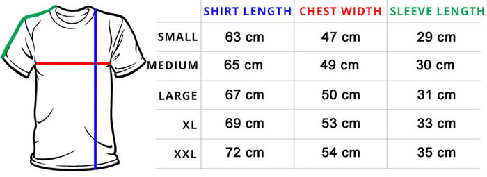 Xtreme Warehouse Shirt Size Chart